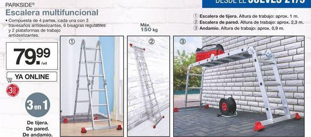 Oferta de Escalera multifuncional Parkside  por 79,99€