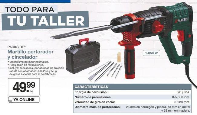 Oferta de Martillo perforador y cincelador Parkside por 49,99€