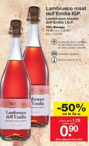 Oferta de Lambrusco rosado Dell'Emilia por 1,79€