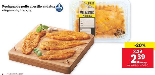 Oferta de Pechuga de pollo al estilo andaluz por 2,39€
