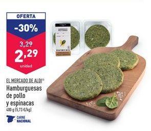 Oferta de Hamburguesas de pollo y espinacas EL MERCADO DE ALDI por 2,29€