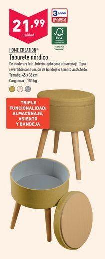 Oferta de Taburete nórdico Home Creation por 21,99€