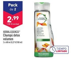 Oferta de Champú detox volumen Herbal Essences por 2,99€