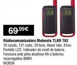 Oferta de Walkie talkie Motorola por 69,99€