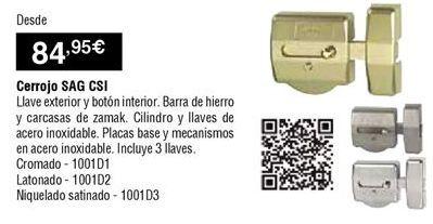 Oferta de Cerrojo de puerta por 84,95€