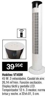 Oferta de Ventilador torre Habitex por 39,95€