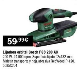 Oferta de Lijadora orbital Bosch por 59,99€