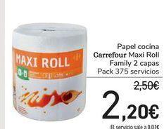 Oferta de Papel cocina Carrefour Maxi Roll Familiy 2 capas por 2,2€