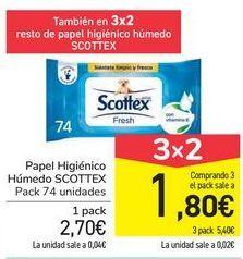Oferta de Papel higiénico Húmedo Scottex  por 2,7€