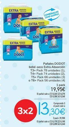 Oferta de Pañales DODOT Bebé seco Extra Absorción  por 19,95€