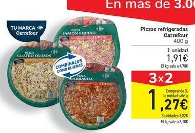 Oferta de Pizzas refrigeradas Carrefour por 1,91€