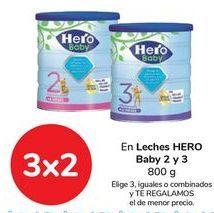 Oferta de En leches HERO Baby 2 y 3, Elige 3, iguales o combinados, y TE REGALAMOS el de menor precio por