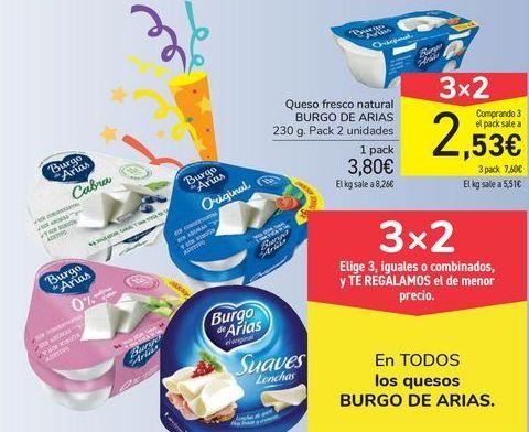 Oferta de Queso fresco natural BURGO DE ARIAS por 3,8€