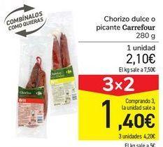 Oferta de Chorizo dulce o picante Carrefour por 2,1€