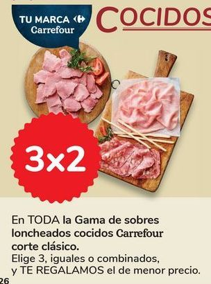 Oferta de En TODA la Gama de sobres loncheados cocidos Carrefour corte clásico por