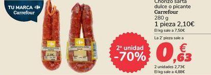Oferta de Chorizo sarta dulce o picante Carrefour por 2,1€