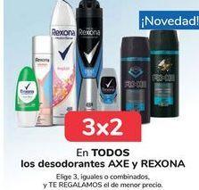 Oferta de En TODOS los desodorantes AXE y REXONA, Elige 3, iguales o combinados, y TE REGALAMOS el de menor precio por
