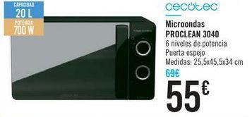 Oferta de Microondas PROCLEAN 3040 Cecotec por 55€