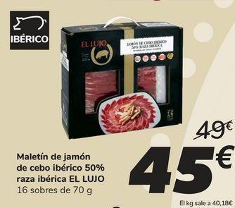 Oferta de Maletín de jamón de cebo ibérico 50% raza ibérica EL LUJO por 45€