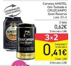 Oferta de Cerveza AMSTEL Oro Tostada o CRUZCAMPO Gran Reserva  por 0,62€