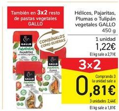 Oferta de Helices, Pajaritas, Plumas o Tulipán vegetales GALLO por 1,22€