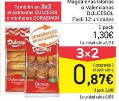 Oferta de Magdalenas Glorias o Valencianas DULCESOL por 1,3€