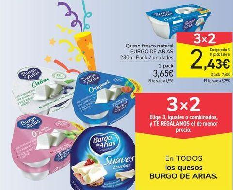 Oferta de Queso fresco natural BURGO DE ARIAS por 3,65€