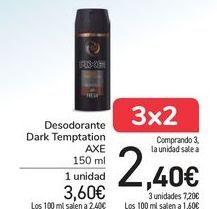 Oferta de Desodorantes DARK Temptation AXE  por 3,6€