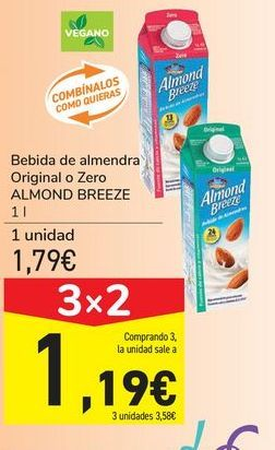 Oferta de Bebida de almendra Original o Zero ALMOND BREEZE por 1,79€