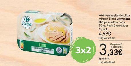 Oferta de Atún en aceite de oliva Virgen Extra Carrefour Bio pescado a caña por 4,99€