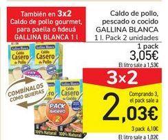 Oferta de Caldo de pollo pescado o cocido GALLINA BLANCA por 3,05€