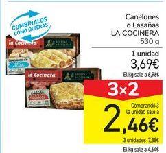 Oferta de Canelones o Lasañas LA COCINERA por 3,69€