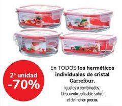 Oferta de En TODOS los herméticos individuales de cristal Carrefour, iguales o combinados  por