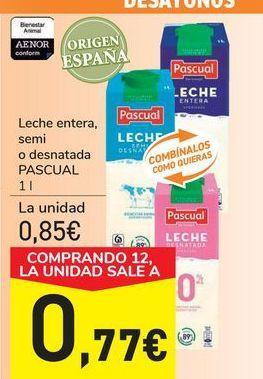 Oferta de Leche entera, semi o desnatada PASCUAL por 0,85€