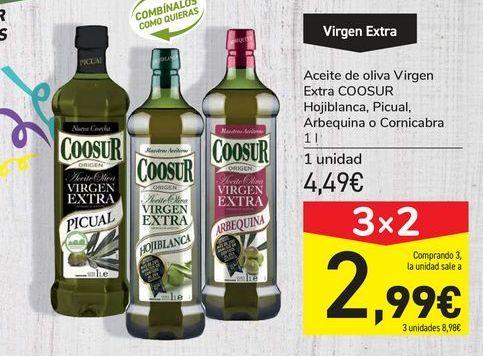 Oferta de Aceite de oliva Virgen Extra COOSUR Hojiblanca, Picual, Arbequina o Cornicabra por 4,49€