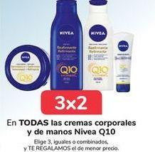Oferta de En TODAS las cremas corporales y de manos Nivea Q10, Elige 3, iguales o combinados, y TE REGALAMOS el de menor precio por