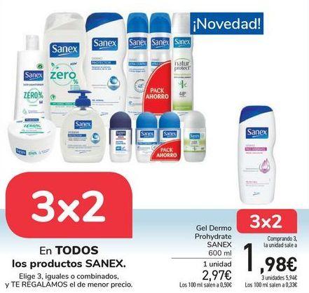 Oferta de En TODOS los productos SANEX, Elige 3, iguales o combinados, y TE REGALAMOS el de menor precio por