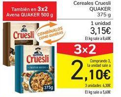 Oferta de Cereales Cruesli QUAKER por 3,15€