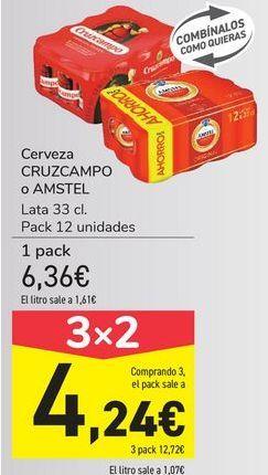 Oferta de Cerveza CRUZCAMPO o AMSTEL  por 4,24€
