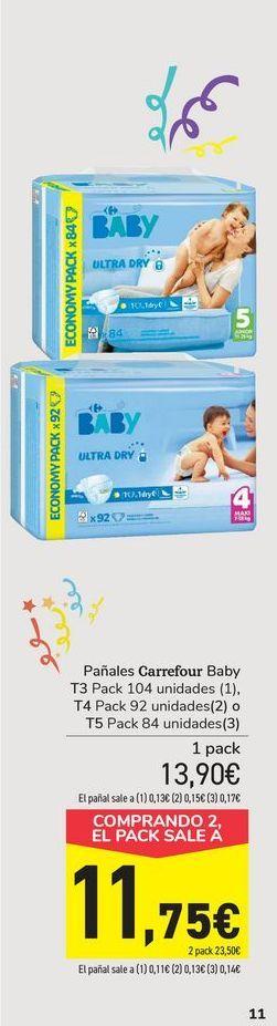 Oferta de Pañales carrefour baby por 11,75€