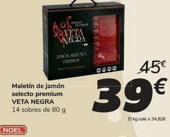 Oferta de Maletín de jamón selecto premium VETA NEGRA por 39€