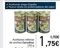 Oferta de Aceitunas rellenas de anchoa carrefour por 1,75€