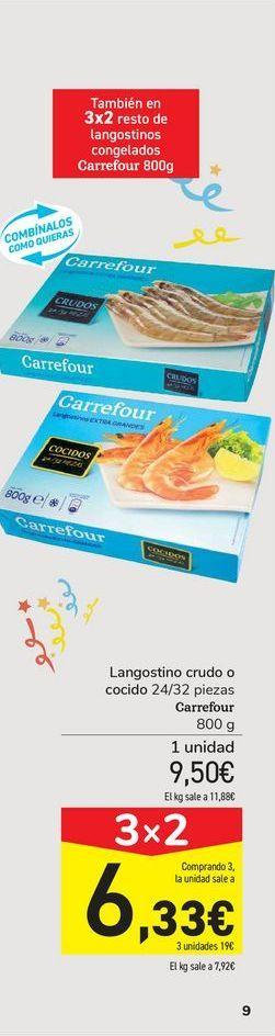 Oferta de Langostino crudo o cocido Carrefour por 9,5€