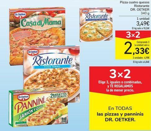 Oferta de En TODAS las pizzas y panninis DR.OETKER por 3,49€