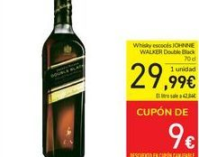 Oferta de Whisky escocés Johnnie Walker Double Black por 29,99€