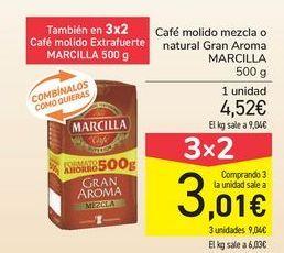 Oferta de Café molido mezcla o natural Gran Aroma MARCILLA por 4,52€