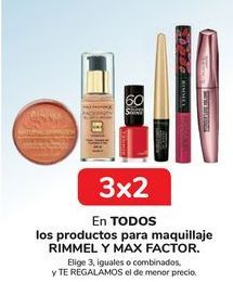 Oferta de En TODOS los productos para maquillaje RIMMEL y MAX FACOR, Elige 3, iguales o combinados, y TE REGALAMOS el de menor precio por
