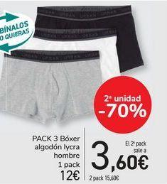 Oferta de Pack 3 bóxer algodón lycra hombre  por 12€