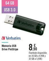 Oferta de Memoria USB Drive PinStripe Verbatim por 8,9€