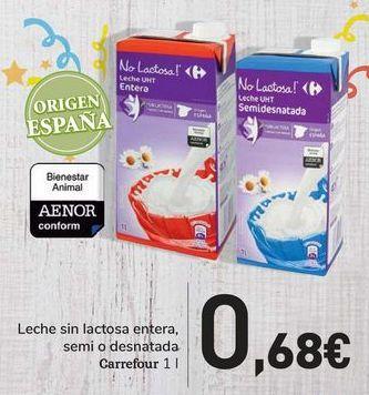 Oferta de Leche sin lactosa entera, semi o desnatada Carrefour por 0,68€